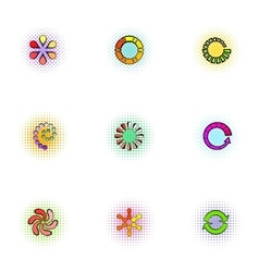 Computer download icons set pop-art style vector