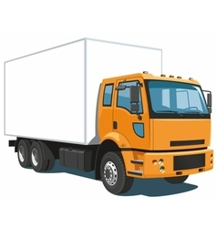 Orange commercial truck vector image vector image