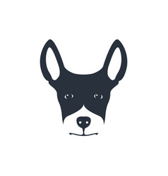 simple dog head on white background vector image vector image
