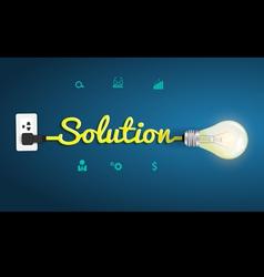 Solution concept with creative light bulb idea vector image