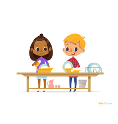 two happy multiracial kids washing dishes isolated vector image vector image