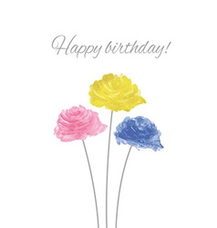 Watercolor Rose Wreath With Happy Birthday vector image vector image