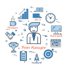 blue round best manager concept vector image vector image
