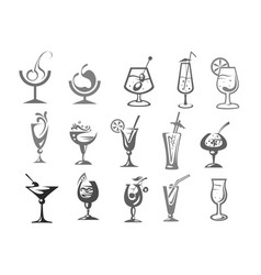 cocktails glasses alcohol drinks bar icons vector image vector image