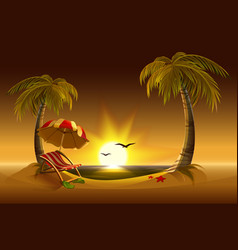 Evening beach Sea sun palm trees and sand vector image vector image