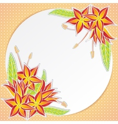Greeting card with orange flowers vector image
