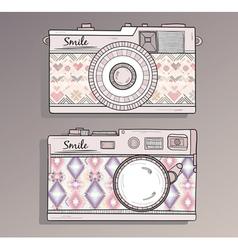 Retro photo cameras set vector image vector image