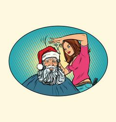 santa claus at the barber vector image