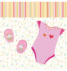 Baby girl background with shoes vector image vector image