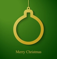 Christmas gold ball applique on green background vector image vector image