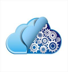 Cloud computing with metal gears vector image vector image