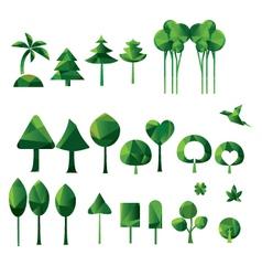 set of geometric trees vector image