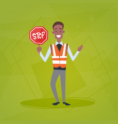 traffic policeman guard holding stop road sign vector image