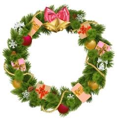 Christmas Wreath with Christmas Bell vector image