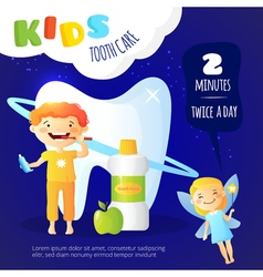 Kids dental care poster vector