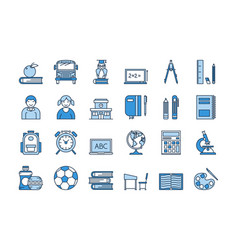 05 blue school education icons set vector image