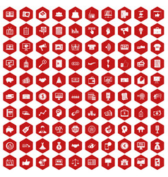 100 e-commerce icons hexagon red vector