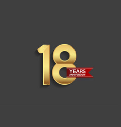 18 years anniversary simple design with golden vector