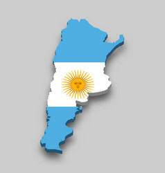 3d isometric map argentina with national flag vector