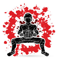 a man pose kung fu fighting action graphic vector image