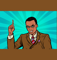 african businessman pointing finger up vector image