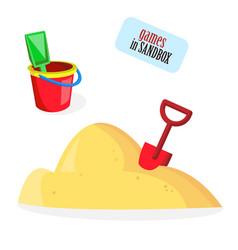 Babucket sand shovel toys vector