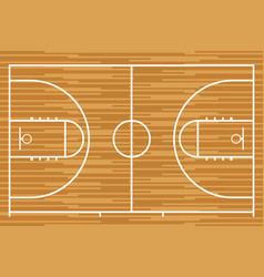 Basketball court with parquet wood board vector