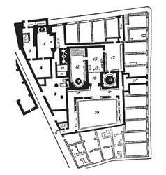 Baths of pompeii the ground plan of the baths vector