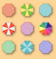 beach umbrellas top view vector image