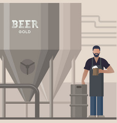 brewer in own brewery with a beer in the hand vector image