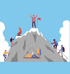 Cartoon people climbing mountain and happy man vector