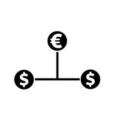 Cash flow icon euro and dollar icon vector