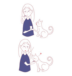 cat asking girl for food vector image