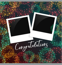 Celebration background with photo frame vector