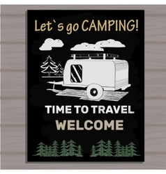 Chalk board invitation in the Camping Lettering vector