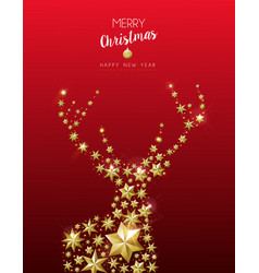 christmas and new year golden star deer card vector image