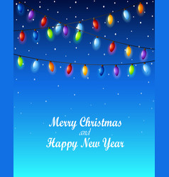 christmas lights on a blue background vector image