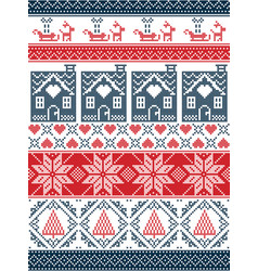 christmas pattern with gingerbread house reindeer vector image