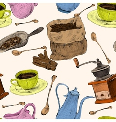 Coffee set seamless colored pattern vector image
