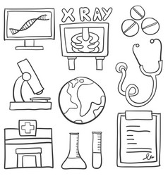 Collection of medical element doodles vector