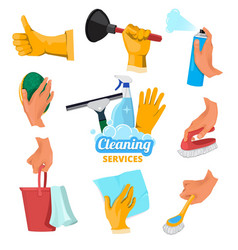 colored symbols for cleaning service hands vector image