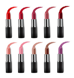 Colorful lipstick set isolated white background vector