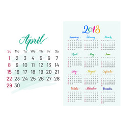 Colorful planner 2018 april separately vector