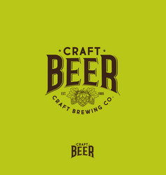 craft beer logo hop cone brewing beer pub label vector image