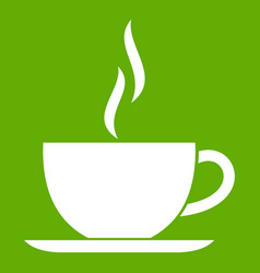 cup of hot drink icon green vector image