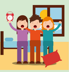 Cute boy and girls waking up hugging in bedroom vector