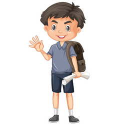 cute boy with paper and backpack on white vector image