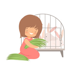 cute little girl feeding rabbits in cage with vector image