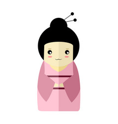 cute pink kimono girl character graphic vector image