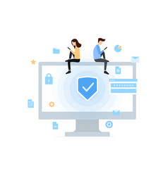 Data protection privacy and internet security flat vector